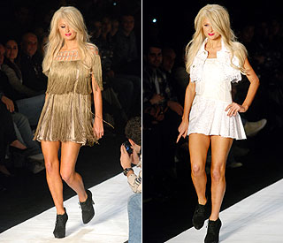 Paris Hilton on catwalk at Sao Paulo Fashion Week
