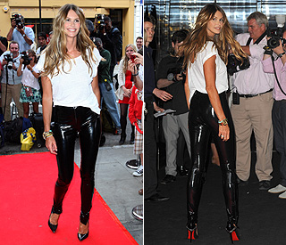 Fab at 47: Elle Macpherson shows off curves in PVC