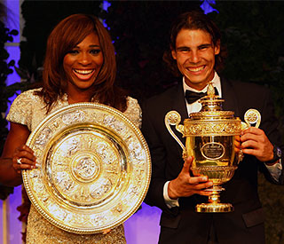 Glam Serena and Rafa celebrate at Wimbledon ball