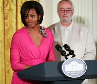 Michelle Obama in the pink at White House lunch