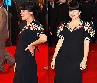 Glamorous Lily Allen presents her baby bump