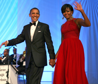 First lady in red Michelle Obama shows movie star style
