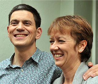 David Miliband's exit puts smile back on wife's face