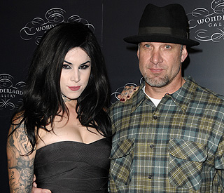 Jesse James and Kat Von D share kisses and lunch