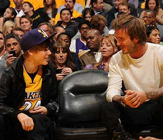 When Becks met Bieber: stars share sports fever