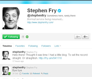 Twitter tease Stephen Fry returns