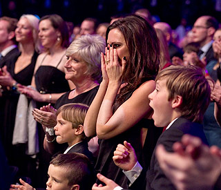 Victoria Beckham moved to tears as David wins award