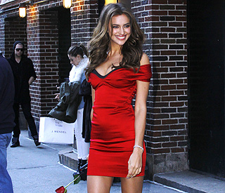 Lady in red: Ronaldo's girlfriend Irina wows