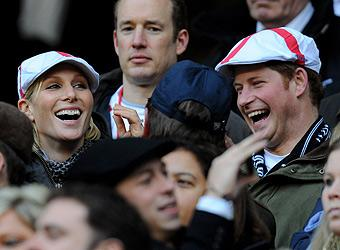Zara Philips cheers on her fiancé with rugby fan Harry