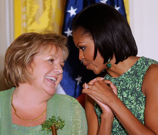 Michelle Obama shines in a St Patrick's Day shade