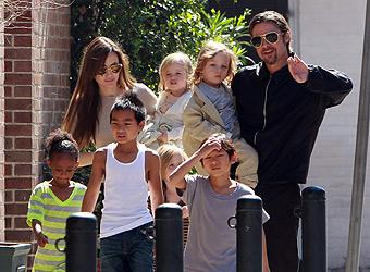 Sunday stroll for Angelina, Brad and their adorable kids