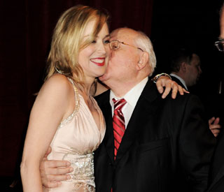 From Russia with love: Mr Gobachev's kiss for Sharon