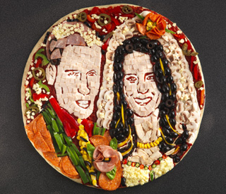 Royal wedding recreated in pizza portrait