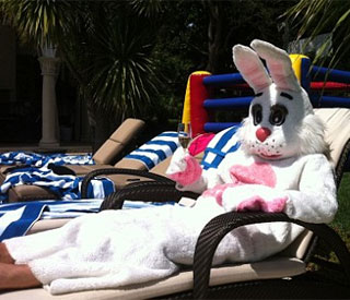 David Beckham in bunny suit for Easter egg hunt