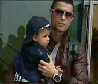 Cristiano Ronaldo back in Madeira with Irina and son