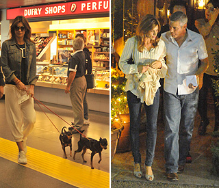 Elisabetta Canalis jets home after George split