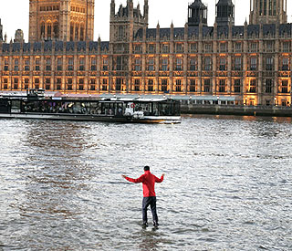 Magician Dynamo takes a stroll on the Thames