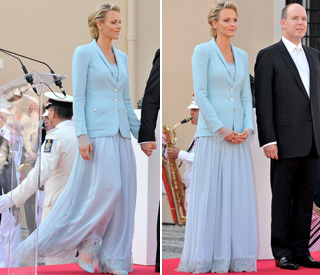 Princess Charlene regal in beautiful sky-blue suit