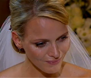 Emotional Princess Charlene sheds a tear