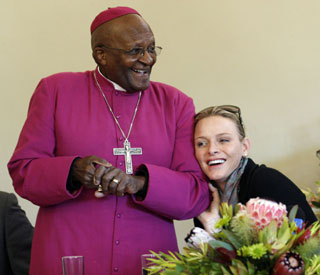 Princess Charlene's joy as she meets Desmond Tutu