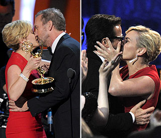 Kisses for Kate Winslet as she celebrates Emmys win