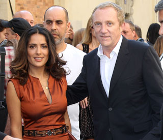 Salma Hayek and husband put on united front