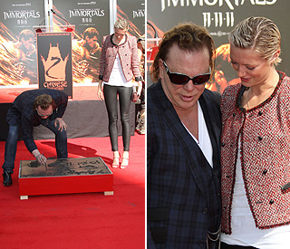 Mickey Rourke dedicates handprints to grandmother