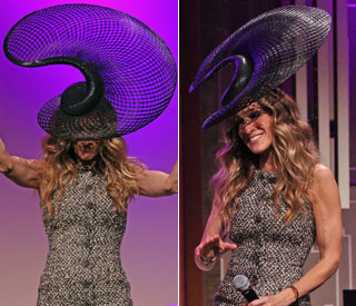 Hats off to SJP for her quirky Philip Treacy creation