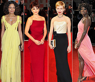 Silver screen beauties defy cold at Baftas