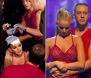 Jennifer Ellison skates on through nasty head injury