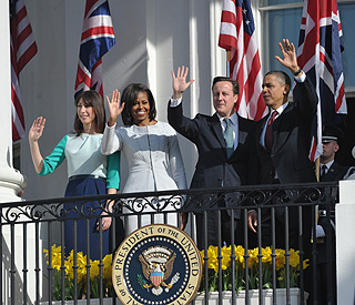 Barack Obama 'chuffed' to welcome the Camerons