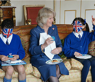 Camilla enjoys a patriotic cupcake for the Big Lunch