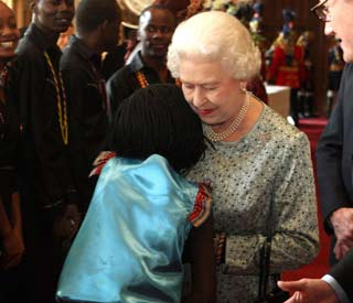 Hug of hope for Queen at Diamond Jubilee Pageant