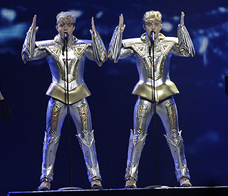 Jedward up against Russian Grannies at Eurovision