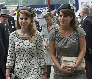 Beatrice and Eugenie taking part in the Big Lunch
