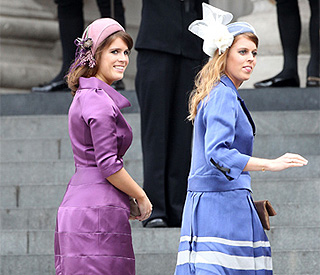 Beatrice and Eugenie bring splash of colour to service