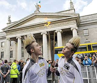 Jedward carry the Olympic Torch through Dublin