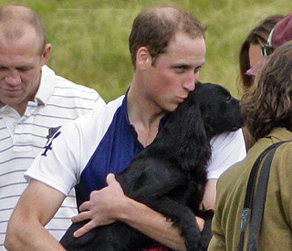 Prince William showers puppy Lupo with affection