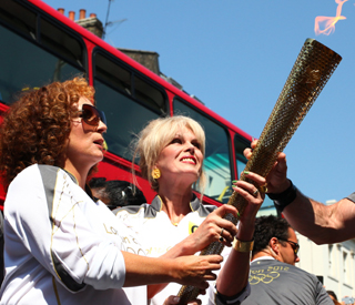 'Ab Fab' ladies Jennifer and Joanna carry torch