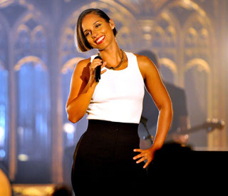 Alicia Keys performs in Manchester cathedral