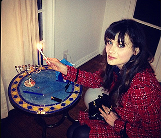 Zooey Deschanel celebrates Hannukah