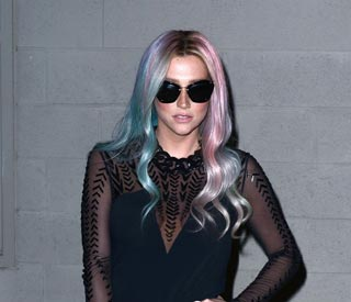 Kesha unveils new multi-coloured hair