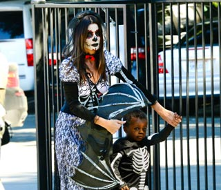 Sandra Bullock plays dress up with son Louis