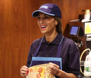 Nicole Scherzinger serves up pastries in Greggs