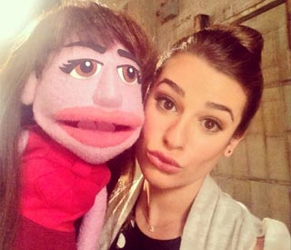 Lea Michele poses with look-a-like puppet