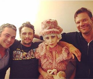 Lady Gaga visits James Franco on Broadway