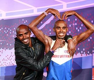 Olympian Mo Farah unveils two new waxworks