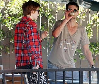 Matt Smith and Karen Gillan relax over lunch in LA