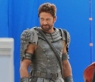 Gerard Butler spotted on set in gladiator costume
