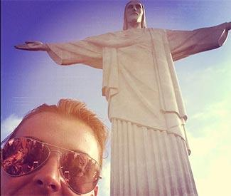 Coleen Rooney takes sons to Brazil's famous statue
